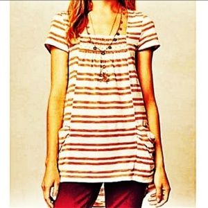 Anthro Meadow Rue Marin Eyelet Striped Tunic Top M